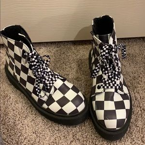 Black and White Checkered Vegan Leather Boots